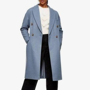 Topshop Brooke Double Breasted Long Coat Sz 6 NWT